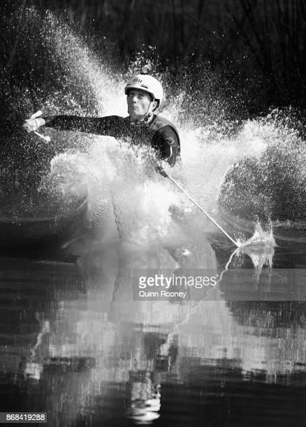 Australian mogul skier Matt Graham lands in the water whilst practising his jumps during an Australian Ski Jump training session on October 31, 2017...