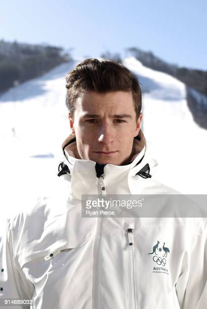 Australian Mogul Skier Matt Graham poses during previews ahead of the PyeongChang 2018 Winter Olympic Games at Alpensia on February 6 2018 in...