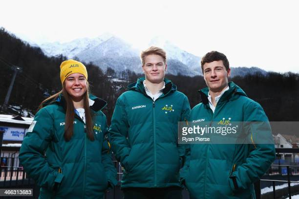 Australian Mogul Skiers Britt Cox Brodie Summers and Matt Graham pose following an Australian Olympic Team press conference at Rosa Khutor Mountain...