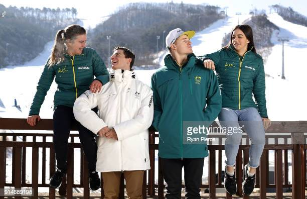 Australian Mogul Skiers Britt Cox Matt Graham Brodie Summers and Jakara Anthony pose during previews ahead of the PyeongChang 2018 Winter Olympic...