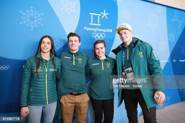 Australian Mogul skiers Jakara Anthony Matt Graham Britt Cox and Brodie Summers at an Australian team press conference ahead of the PyeongChang 2018...