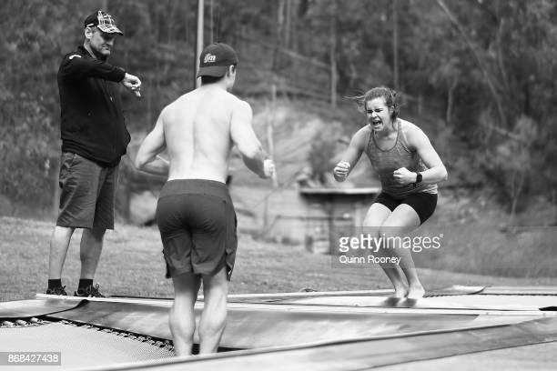 Australian mogul skiers Matt Graham and Britt Cox train on the trampolines during an Australian Ski Jump training session on October 31 2017 in...