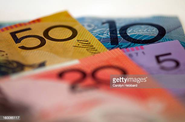 australian money- mixed notes - banknote stock pictures, royalty-free photos & images