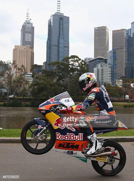 Australian Moto3 rider Jack Miller rides his motorbike during a MotoGp bike run on Yarra River on October 15, 2014 in Melbourne, Australia.