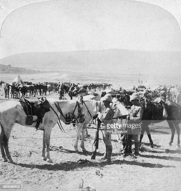 Australian Mounted Rifles after a skirmish at the Modder River South Africa 12th January 1900 Stereoscopic card