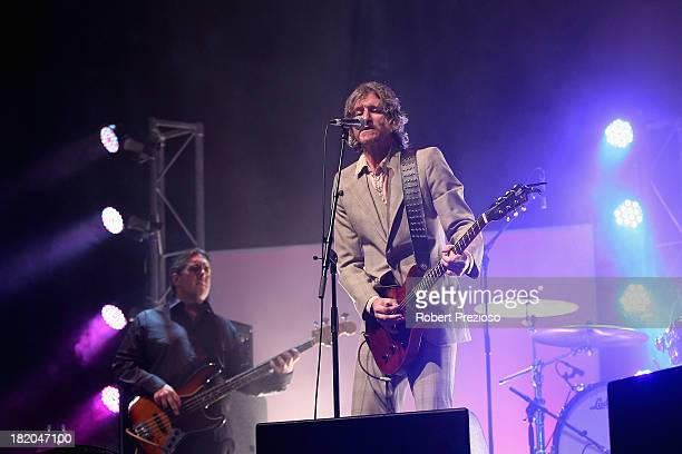 Australian music icon Tim Rogers performs during the 2013 Blackwoods North Melbourne Grand Final Breakfast at Etihad Stadium on September 28 2013 in...