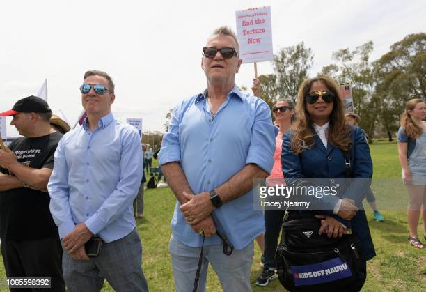 Australian musician Jimmy Barnes with his wife Jane Mahoney at a protest against children in detention at Parliament House on November 27 2018 in...