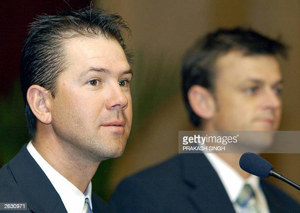 Australian national cricket team captain Ricky Ponting and wicket keeper Adam Gilchrist address a press conference late 22 October 2003 upon arrival...