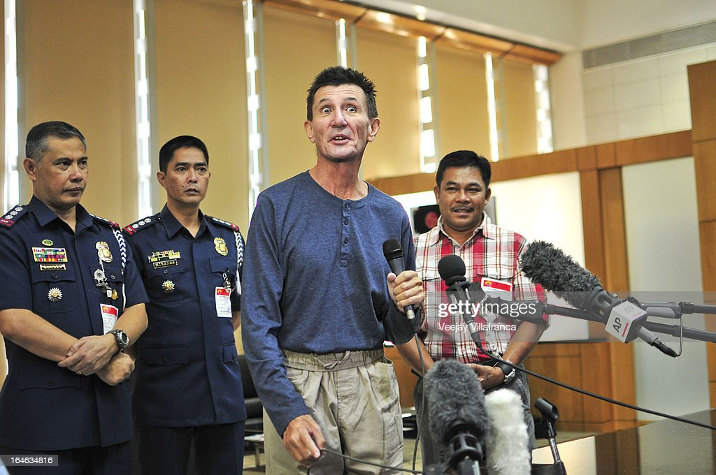 Australian national Warren Rodwell delivers a short statement to the media after his arrival at Manila International Airport on March 25, 2013 in Manila, Philippines. Rodwell was reportedly released on March 23 after allegedly paying $90,000 USD to secure his safety after being held as a hostage of Islamic militants in the southern Philippines for 15 months.