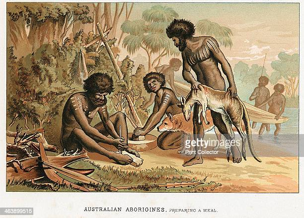 Australian natives preparing meal from an animal they have hunted c1895 The man on the left makes a fire by the blister method