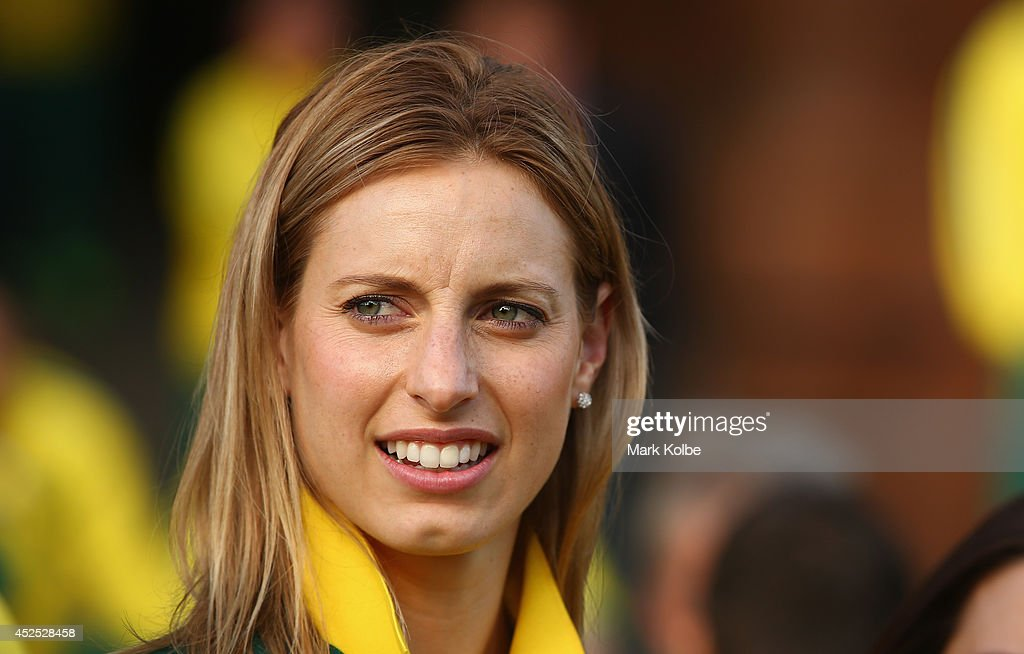 Australian netball captain Laura Geitz looks on before official team reception at the Kelvin Grove Art Gallery and Museum on July 21, 2014 in Glasgow, Scotland.