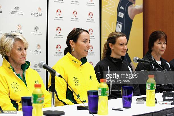 Australian netball coach Norma Plummer captain Liz Ellis with Silver Ferns captain Adele Wilson and coach Ruth Aitken speaks to the media at the...