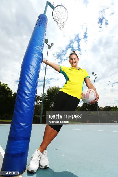 Australian Netball player Madi Robinson poses during the Australian Netball Commonwealth Games Team Announcement at State Netball Hockey Centre on...