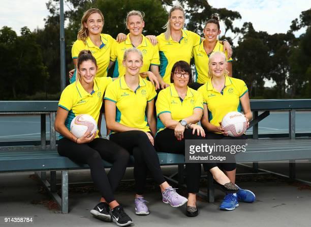 Australian Netball players Back LR Liz Watson Caitlin Thwaites Caitlin Bassett Madi Robinson Front LR Kim Ravaillion April Brandley Lisa Alexander...