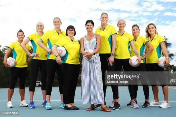 Australian Netball players Madi Robinson Jo Weston Caitlin Thwaites Caitlin Bassett April Brandley Kim Ravaillion and Liz Watson pose with Head Coach...