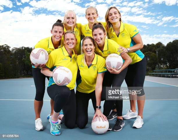 Australian Netball players Madi Robinson Jo Weston Caitlin Thwaites Caitlin Bassett April Brandley Kim Ravaillion and Liz Watson pose during the...