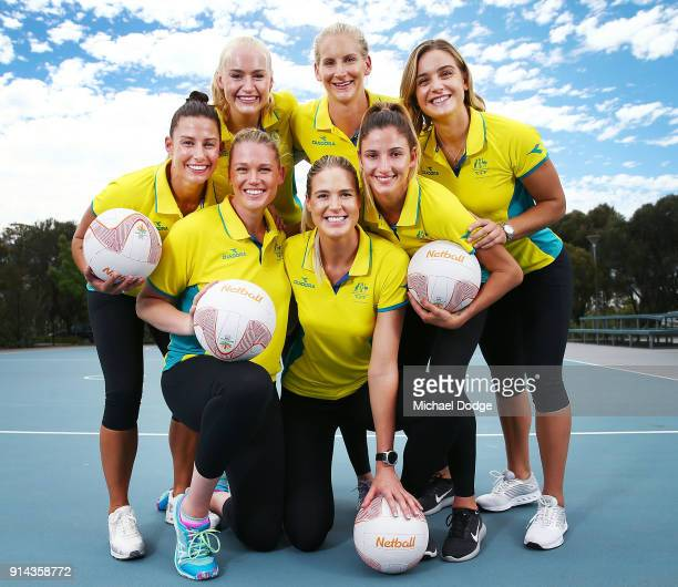Australian Netball players Madi Robinson Jo Weston Caitlin Thwaites Caitlin Bassett April Brandley Kim Ravaillion and Liz Watson pose during the...