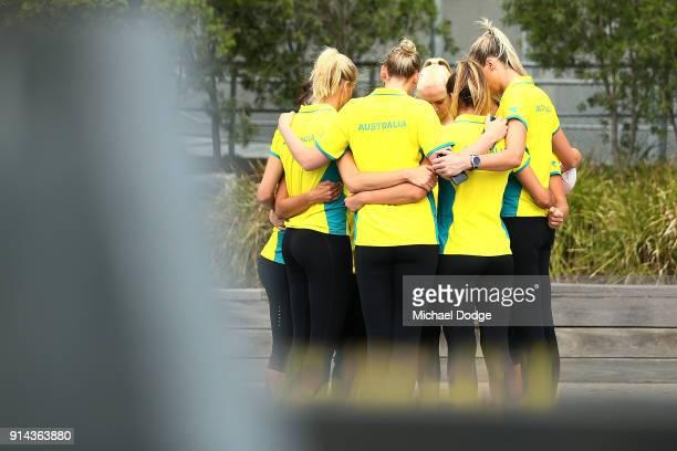 Australian Netball players Madi Robinson Jo Weston Caitlin Thwaites Caitlin Bassett April Brandley Kim Ravaillion and Liz Watson share a quiet moment...