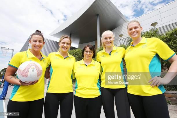 Australian Netball players Madi Robinson Liz Watson Jo Weston and Caitlin Thwaites pose with head coach Lisa Alexander during the Australian Netball...
