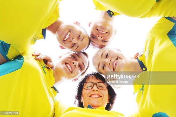 Australian Netball players Madi Robinson Liz Watson Jo Weston and Caitlin Thwaites pose with head coach Lisa Alexander during the Australian Netball...