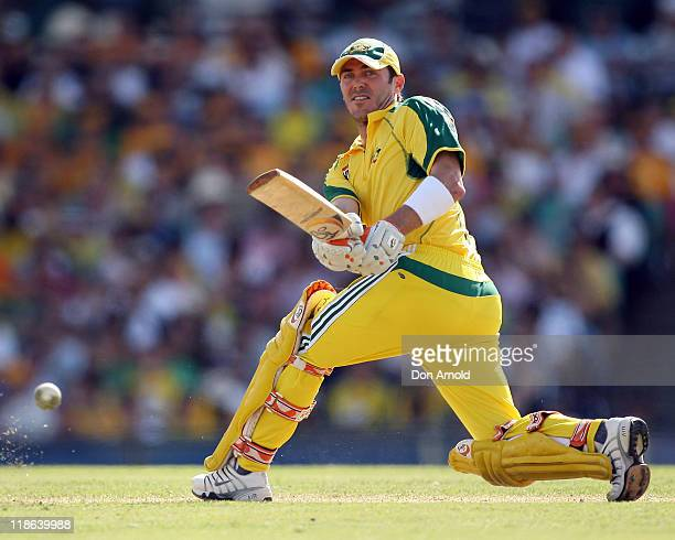 Australian number five batsman Damian Martyn plays an elegant sweep shot off the bowling of Graham Smith at the Sydney Cricket Ground Sydney...