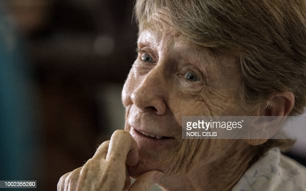 Australian nun Patricia Fox smiles during a press conference in Manila on July 20 2018 The Philippines issued on July 19 a fresh deportation order...