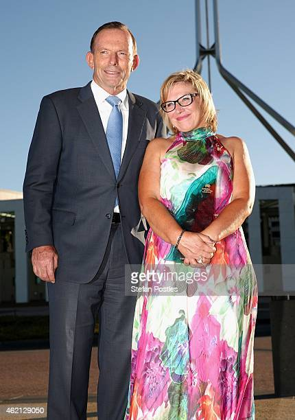 Australian of the Year Rosie Batty poses with Australian Prime Minister Tony Abbott during the 2015 Australian of the Year Awards at Parliament House...