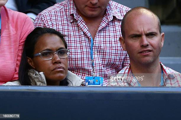 Australian Olympian Cathy Freeman and Sandy Bodecker watch Na Li of China and Victoria Azarenka of Belarus in their women's final match during day...