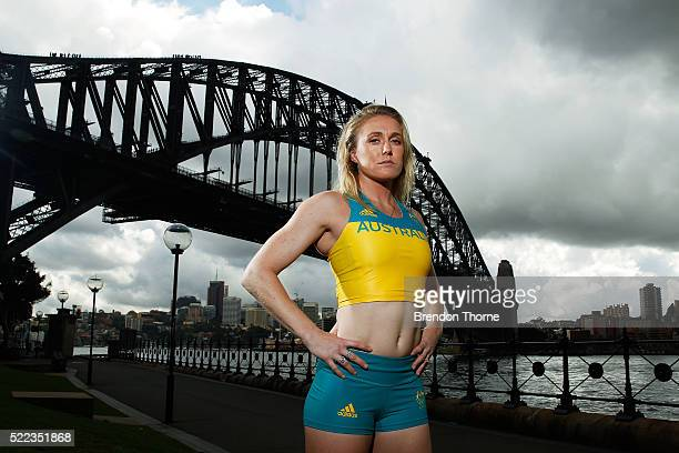Australian Olympian Sally Pearson poses during the Australian Olympic Games Official Uniform Launch at the Park Hyatt Hotel on April 19 2016 in...