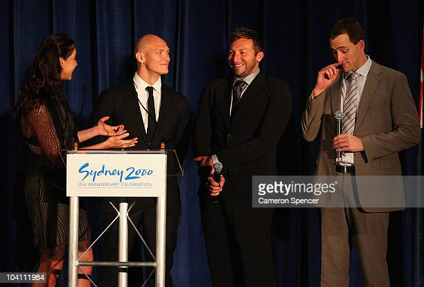 Australian Olympians Michael Klim Ian Thorpe and Chris Fydler are interviewed by Giaan Rooney during the Sydney 2000 Anniversary dinner as part of...
