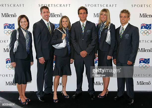 Australian Olympic athletes Lachlan Milne Jane Saville Mark Bellofiore Elise Rechichi Tessa Parkinson and Ky Hurst pose during the Olympic Team...