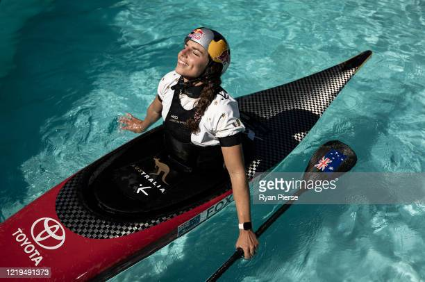Australian Olympic Canoeist Jess Fox poses while training at her home on April 18 2020 in Sydney Australia Athletes across the globe are now training...