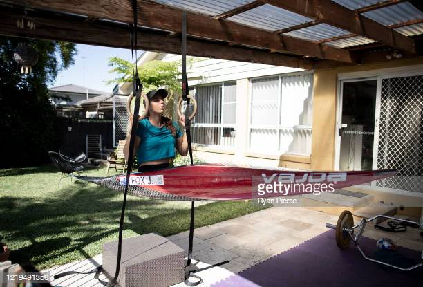 Australian Olympic Canoeist Jess Fox trains at her home on April 18 2020 in Sydney Australia Athletes across the globe are now training in isolation...