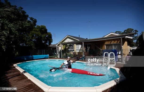 Australian Olympic Canoeist Jess Fox trains in her swimming pool at her home on April 18 2020 in Sydney Australia Athletes across the globe are now...