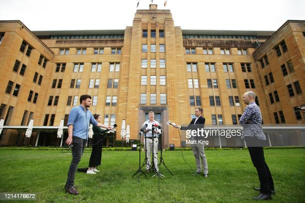 Australian Olympic Committee CEO Matt Carroll speaks to the media during a press conference at the MCA on March 23, 2020 in Sydney, Australia.