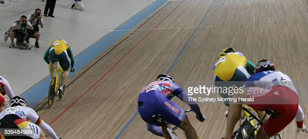 Australian Olympic Cyclist Ryan Bayley during his gold medal ride in the mens Kierin race at the 2004 Athens Olympic games in which team mate Shane...