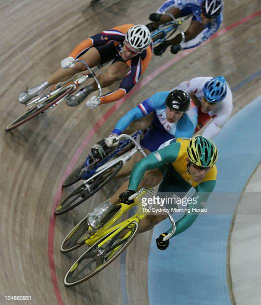 Australian Olympic Cyclist Shane Kelly on his way to a first round win in the mens Keirin race at the 2004 Athens Olympic games on 25 August 2004.