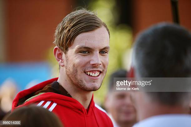 Australian Olympic Games gold medallist Kyle Chalmers speaks to students at Immanuel College on August 25 2016 in Adelaide Australia