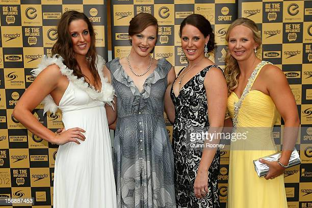 Australian Olympic gold medal relay team Brittany Elmslie Cate Campbell Alicia Coutts and Melanie Schlanger pose at the 2012 Swimmer of the Year...