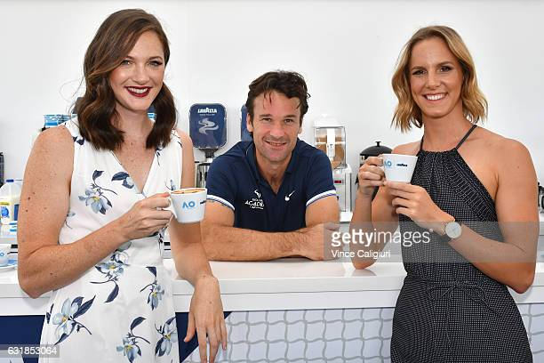 Australian Olympic gold medal winning sisters Cate and Bronte Campbell pose with Carlos Moya of Spain at the Lavazza Cafe during day two of the 2017...