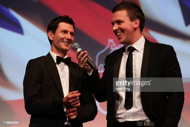 Australian Olympic hockey player Jamie Dwyer speaks during the Australian Olympic Committee Black Tie Dinner at the Sydney Convention Exhibition...
