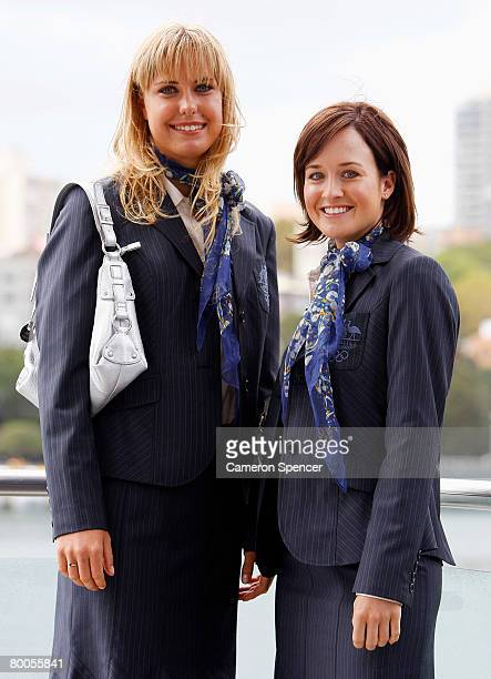 Australian Olympic sailors Tessa Parkinson and Elise Rechichi pose during the Olympic Team Uniform Launch held at Andrew Boy Charlton Pool February...
