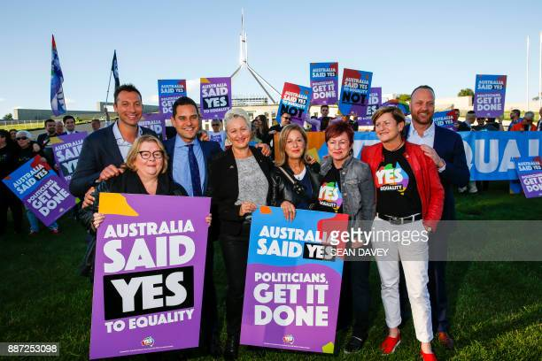 Australian Olympic swimmer Ian Thorpe joins equality ambassadors and volunteers from the Equality Campaign who gather in front of Parliament House in...