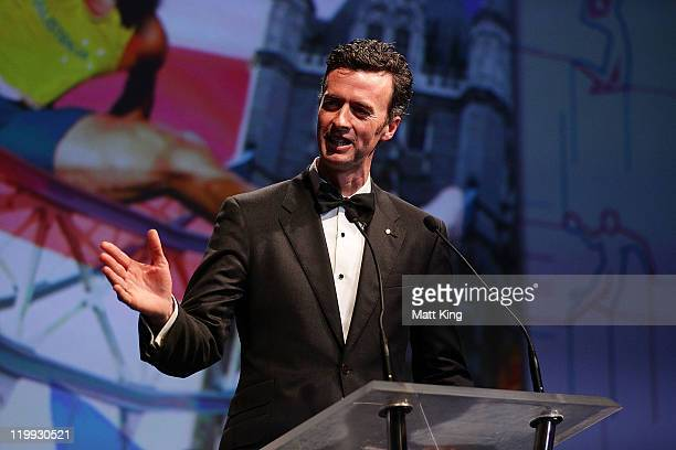Australian Olympic team chef de mission Nick Green speaks during the Australian Olympic Committee Black Tie Dinner at the Sydney Convention...