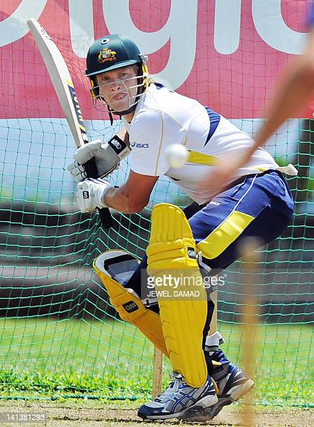 Australian One Day International cricket team captain Shane Watson prepares to play a shot during a practice session at the Arnos Vale Ground in...