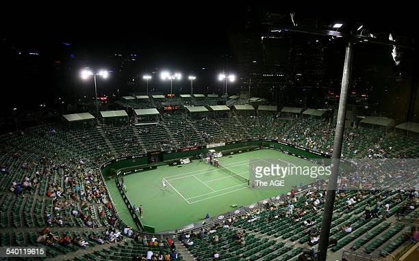 Australian Open 2007 Aerial view of the outside of the Margaret Court arena and show court two under lights after searing temperature reached upwards...