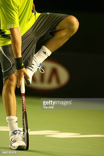Australian Open 2007 Russia's Marat Safin after throwing his racquet to the ground during his fiveset victory over Germany's Benjamin Becker during...