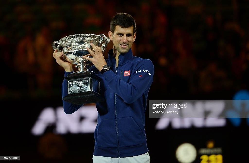 Australian Open 2016 champion Novak Djokovic of Serbia holds the Norman Brookes Challenge Cup after the Men's Singles Final during day 14 of the 2016 Australian Open at Melbourne Park on January 31, 2016 in Melbourne, Australia.
