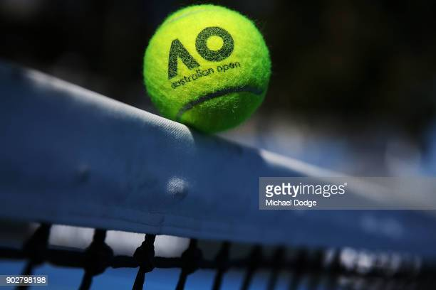 Australian Open tennis balls are seen during a practice session ahead of the 2018 Australian Open at Melbourne Park on January 9 2018 in Melbourne...