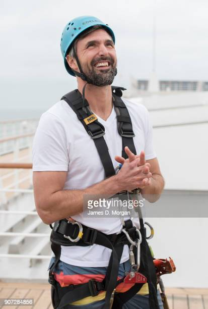 Australian Open Tennis Legend Goran Ivanisevic preparing to zip line on board PO Australia's Pacific Eden cruise ship on January 20 2018 in Melbourne...